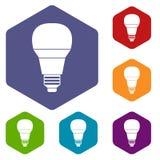 Icone d'ardore della lampadina del LED messe Immagini Stock Libere da Diritti