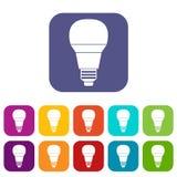Icone d'ardore della lampadina del LED messe Immagine Stock