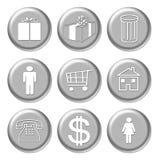 Icone d'argento di acquisto Immagine Stock Libera da Diritti