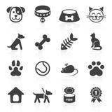 Icone d'avanguardia dell'animale domestico su bianco Vettore Fotografia Stock