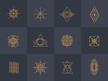 Icone d'avanguardia geometriche dei pantaloni a vita bassa royalty illustrazione gratis