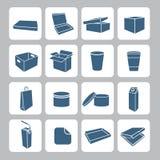 Icone d'imballaggio messe Immagine Stock