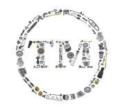 Icone de marque déposée avec des pièces d'auto pour la voiture Photographie stock libre de droits