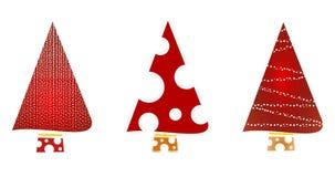 Icone decorate rosse scintillanti dell'albero di Natale Immagine Stock Libera da Diritti