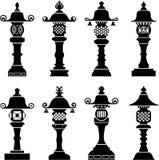 Icone decorative asiatiche della lanterna Fotografie Stock