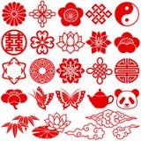 Icone decorative cinesi Fotografia Stock Libera da Diritti