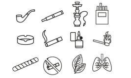 Icone degli accessori delle merci del tabacco royalty illustrazione gratis