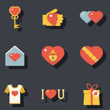 Icone degli accessori di simboli di giorno di biglietti di S. Valentino della st messe Fotografia Stock
