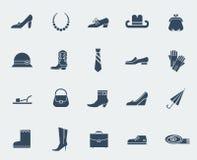 Icone degli accessori e delle scarpe isolate su bianco Fotografia Stock Libera da Diritti