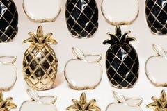Icone degli accessori sotto forma di ananas e di mela immagini stock