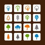 Icone degli alberi Fotografia Stock Libera da Diritti