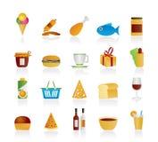Icone degli alimenti e del negozio Immagine Stock Libera da Diritti