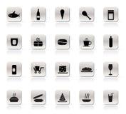Icone degli alimenti e del negozio Immagini Stock