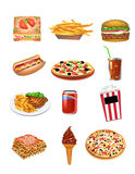 Icone degli alimenti a rapida preparazione Fotografie Stock