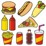 Icone degli alimenti a rapida preparazione Fotografia Stock
