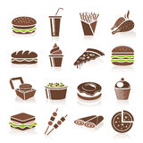 Icone degli alimenti a rapida preparazione Fotografie Stock Libere da Diritti