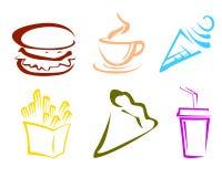 Icone degli alimenti a rapida preparazione Immagini Stock Libere da Diritti