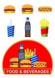 Icone degli alimenti a rapida preparazione Immagini Stock