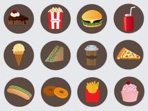 Icone degli alimenti a rapida preparazione di vettore Fotografia Stock Libera da Diritti