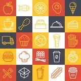 Icone degli alimenti a rapida preparazione di vettore Fotografia Stock