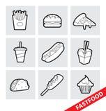 Icone degli alimenti a rapida preparazione di vettore illustrazione di stock