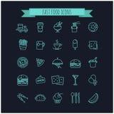 icone degli alimenti a rapida preparazione impostate Immagini Stock Libere da Diritti