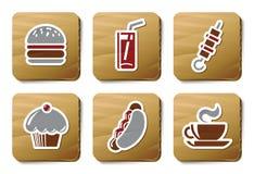 Icone degli alimenti a rapida preparazione   Serie del cartone illustrazione di stock