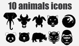 10 icone degli animali Fotografia Stock Libera da Diritti
