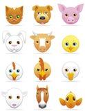 Icone degli animali da allevamento e degli animali domestici Fotografie Stock Libere da Diritti