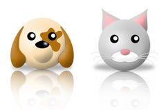 Icone degli animali del gatto e del cane Fotografia Stock Libera da Diritti