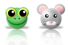 Icone degli animali del mouse e della rana Fotografie Stock