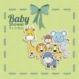 Icone degli animali della doccia di bambino Immagine Stock Libera da Diritti