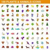 100 icone degli animali e delle piante hanno messo, stile del fumetto illustrazione di stock