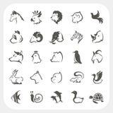Icone degli animali messe Fotografie Stock Libere da Diritti