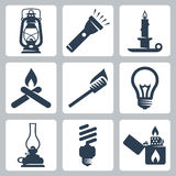 Icone degli apparecchi della luce e di illuminazione di vettore messe Fotografie Stock
