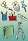 Icone degli articoli per ufficio Immagine Stock Libera da Diritti