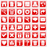 Icone degli autoadesivi del quadrato rosso [1] Immagine Stock