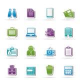 Icone degli elementi dell'ufficio e di affari Immagine Stock