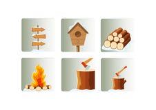 Icone degli elementi di stagione invernale messe Fotografia Stock