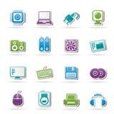Icone degli elementi e degli accessori del calcolatore Immagini Stock