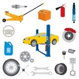 Icone degli elementi e delle parti di servizio dell'automobile illustrazione vettoriale