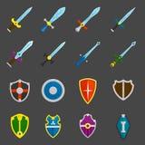 Icone degli emblemi delle spade dello schermo messe Fotografia Stock