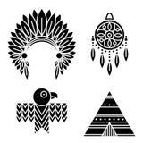 Icone degli indiani del nativo americano messe Fotografia Stock