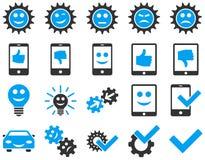 Icone degli ingranaggi di sorriso e degli strumenti Immagine Stock