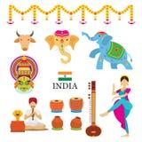Icone degli oggetti dell'India messe Fotografia Stock Libera da Diritti