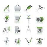 Icone degli oggetti dell'ufficio e di affari Immagini Stock Libere da Diritti