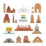 Icone degli oggetti di architettura dell'India messe Immagine Stock