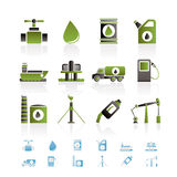 Icone degli oggetti di industria della benzina e del petrolio Fotografia Stock