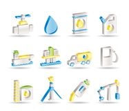 Icone degli oggetti di industria della benzina e del petrolio Fotografia Stock Libera da Diritti