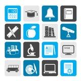 Icone degli oggetti di istruzione e della scuola della siluetta Fotografia Stock Libera da Diritti